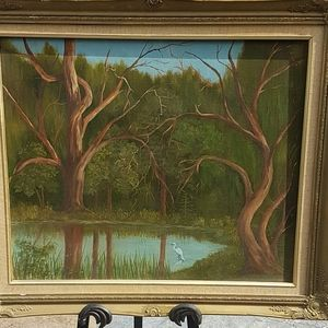 Vintage oil on canvas Marsh view with crane